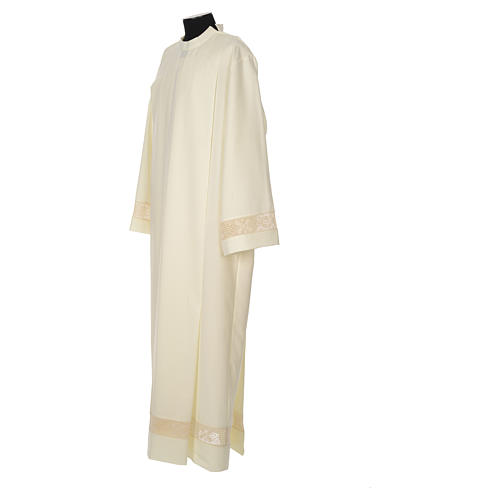 Clergy Alb with lace bands in polyester shoulder zipper, ivory 2