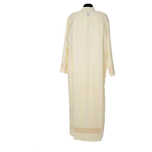 Clergy Alb with lace bands in polyester shoulder zipper, ivory 3