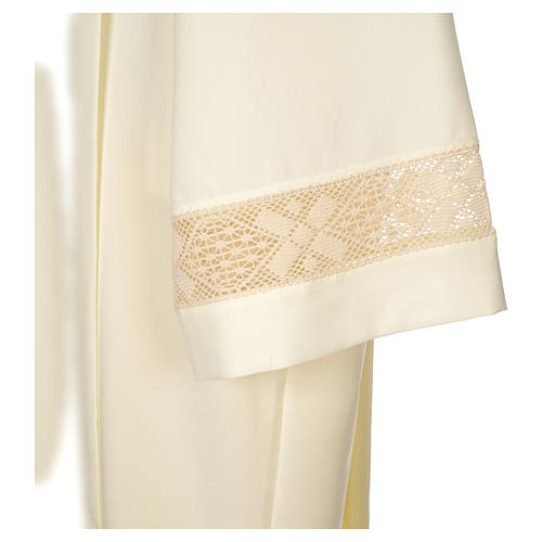 Clergy Alb with lace bands in polyester shoulder zipper, ivory 4