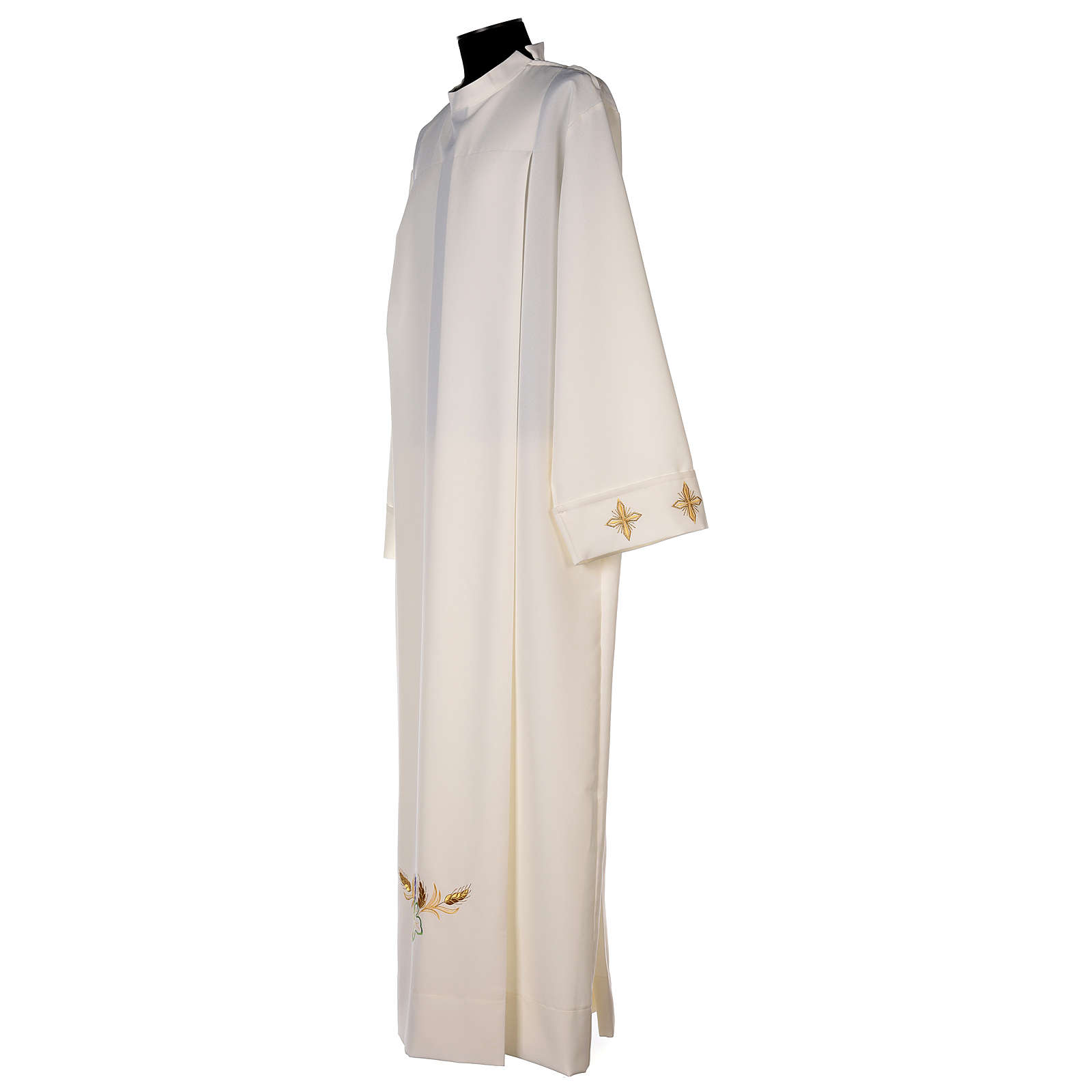 Ivory alb in polyester with cross, wheat and grapes embroideries 4