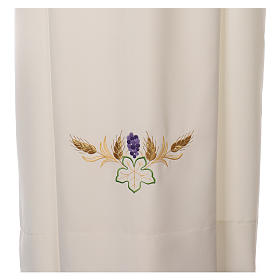 Ivory alb in polyester with cross, wheat and grapes embroideries s2
