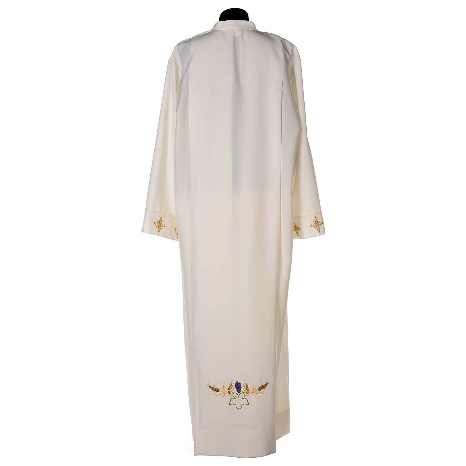 Clergy Alb in polyester with cross, wheat and grapes embroideries in ivory 4