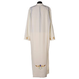 Clergy Alb in polyester with cross, wheat and grapes embroideries in ivory s7