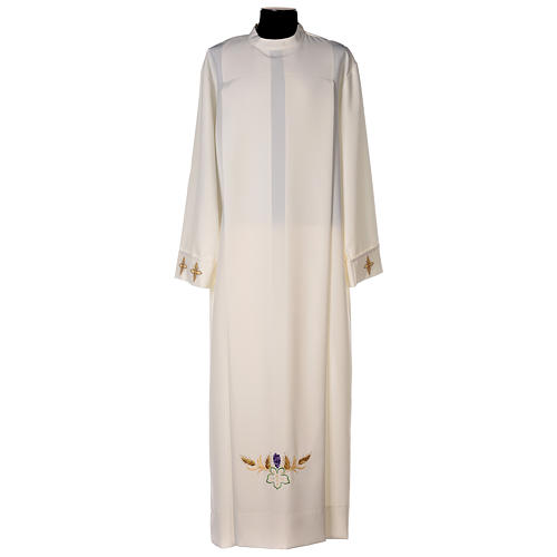 Clergy Alb in polyester with cross, wheat and grapes embroideries in ivory 1