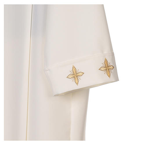 Clergy Alb in polyester with cross, wheat and grapes embroideries in ivory 3