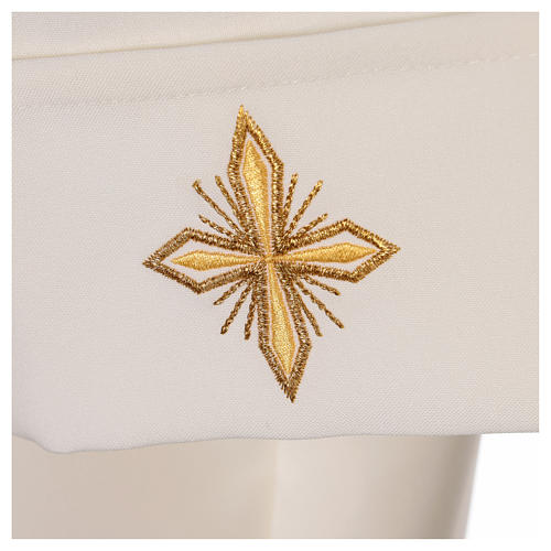 Clergy Alb in polyester with cross, wheat and grapes embroideries in ivory 6