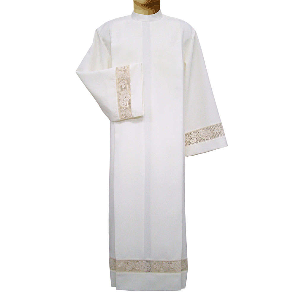 Ivory alb in polyester with golden lace bands 4