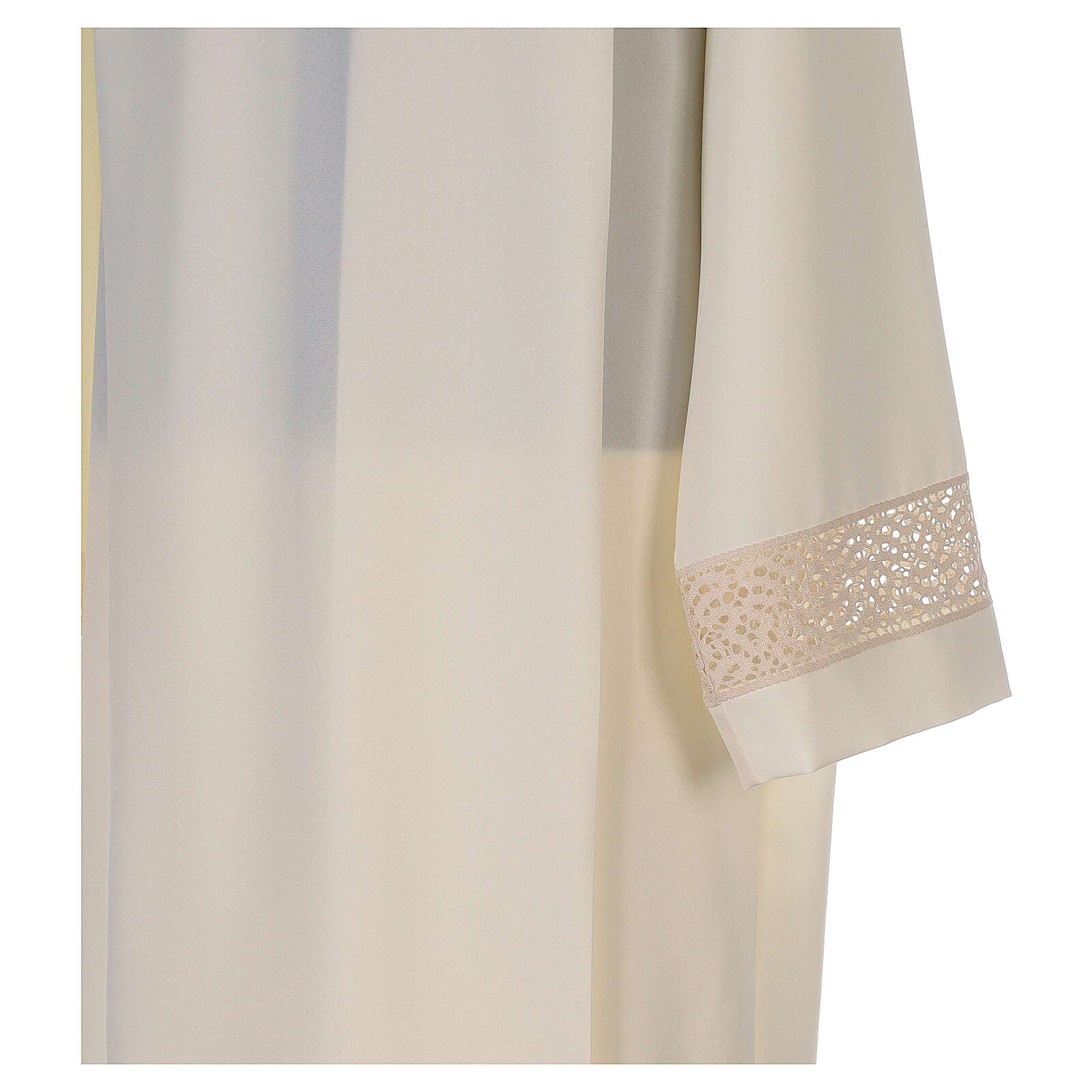 Ivory alb in polyester with red lace bands 4