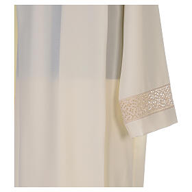 Ivory alb in polyester with red lace bands s4