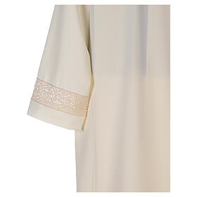 Ivory alb in polyester with red lace bands s6