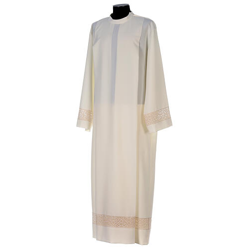 Ivory alb in polyester with red lace bands 3