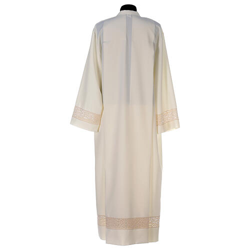 Ivory alb in polyester with red lace bands 5