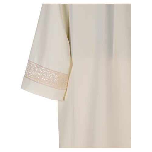 Ivory alb in polyester with red lace bands 6