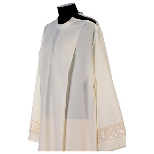 Ivory alb in polyester with red lace bands 7