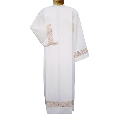 Ivory alb in polyester with red lace bands 1