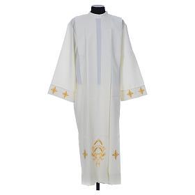 Aube liturgique ivoire croix et épis 100% polyester s1