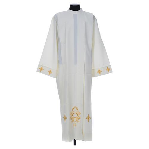 Aube liturgique ivoire croix et épis 100% polyester 1