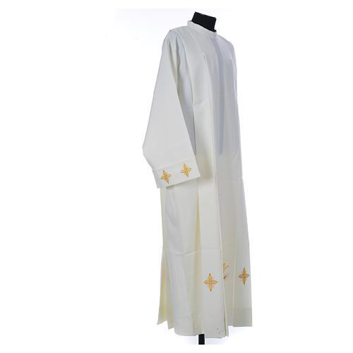 Aube liturgique ivoire croix et épis 100% polyester 3