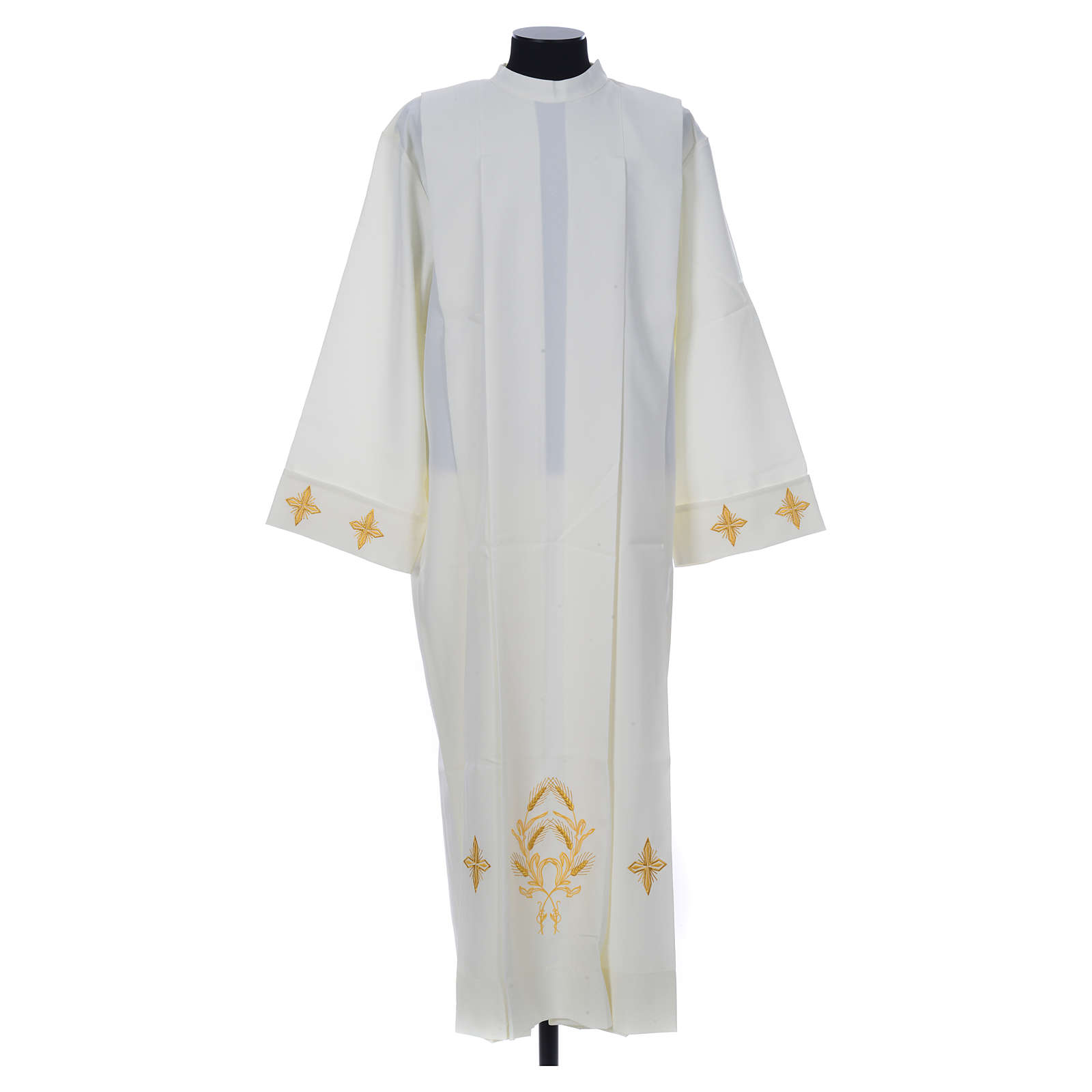 Ivory alb in polyester, cross on sleeves and wheat embroideries 4