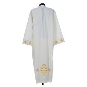 Ivory alb in polyester, cross on sleeves and wheat embroideries s2