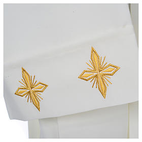 Ivory alb in polyester, cross on sleeves and wheat embroideries s4