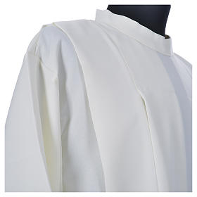 Ivory alb in polyester, cross on sleeves and wheat embroideries s5