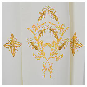 Ivory alb in polyester, cross on sleeves and wheat embroideries s6