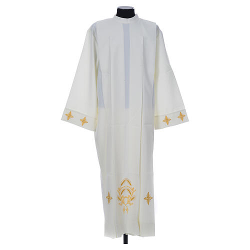 Ivory alb in polyester, cross on sleeves and wheat embroideries 1