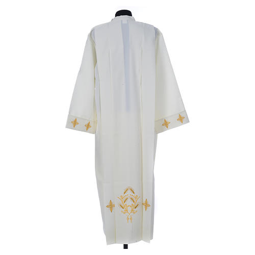 Ivory alb in polyester, cross on sleeves and wheat embroideries 2