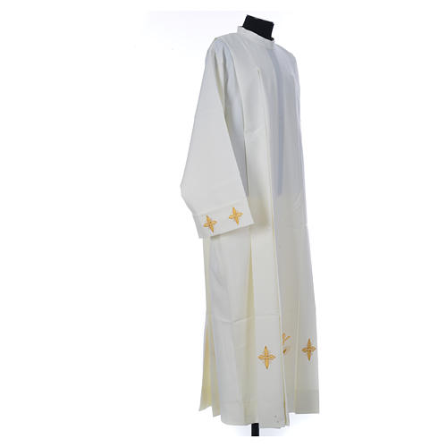 Ivory alb in polyester, cross on sleeves and wheat embroideries 3