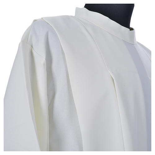 Ivory alb in polyester, cross on sleeves and wheat embroideries 5