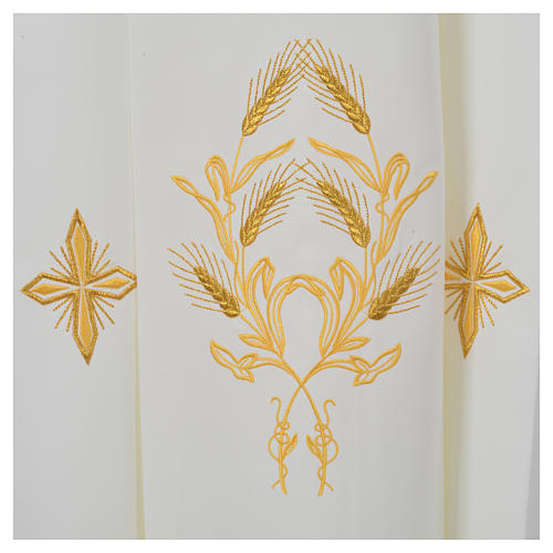 Ivory alb in polyester, cross on sleeves and wheat embroideries 6