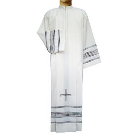 Camice avorio 55% pol. 45% lana gigliuccio papale RICAMO A MANO s1