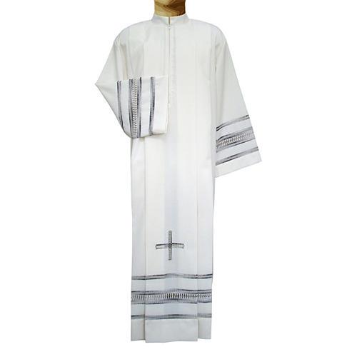 Camice avorio 55% pol. 45% lana gigliuccio papale RICAMO A MANO 1