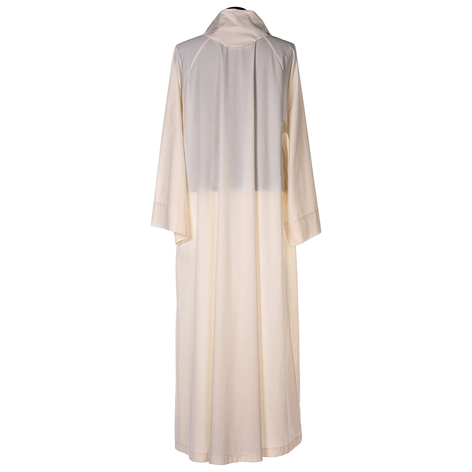 Ivory alb in cotton polyester, flared with false hood 4