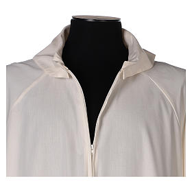 Ivory alb in cotton polyester, flared with false hood s2