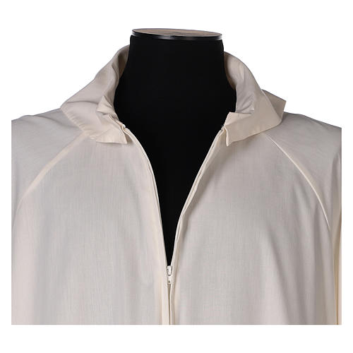 Ivory alb in cotton polyester, flared with false hood 2