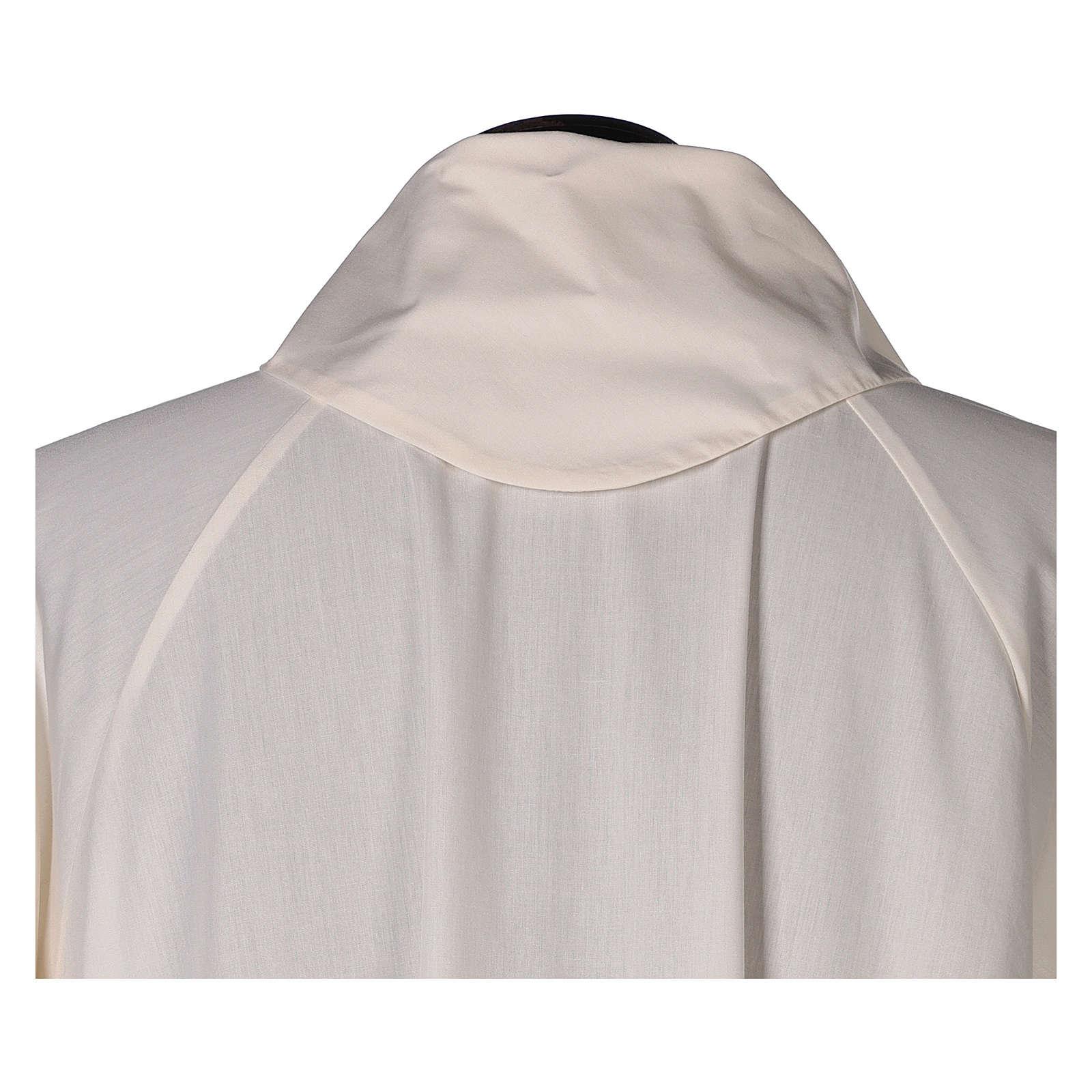 Aube liturgique ivoire évasée faux capuche 65% pol 4