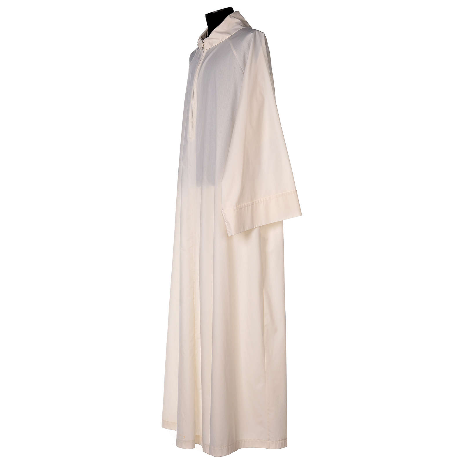 Priest alb in cotton polyester, flared in ivory with false hood 4