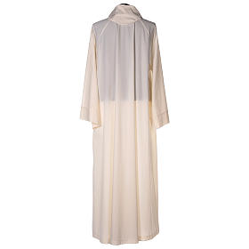 Priest alb in cotton polyester, flared in ivory with false hood s5