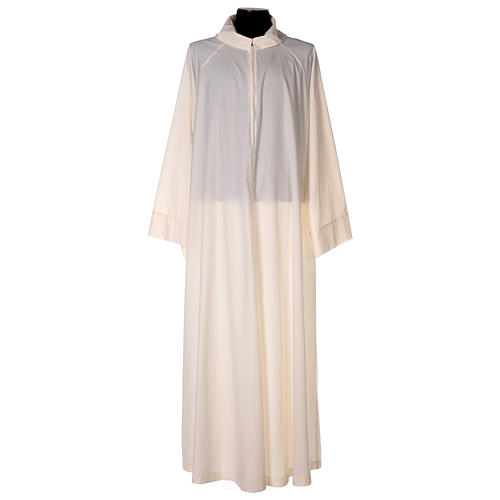Priest alb in cotton polyester, flared in ivory with false hood 1