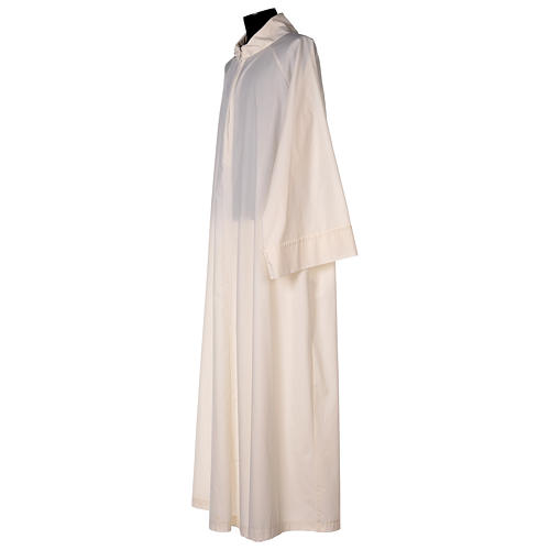 Priest alb in cotton polyester, flared in ivory with false hood 3