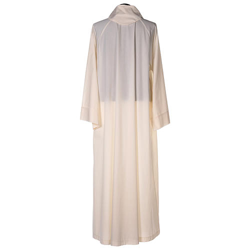 Priest alb in cotton polyester, flared in ivory with false hood 5