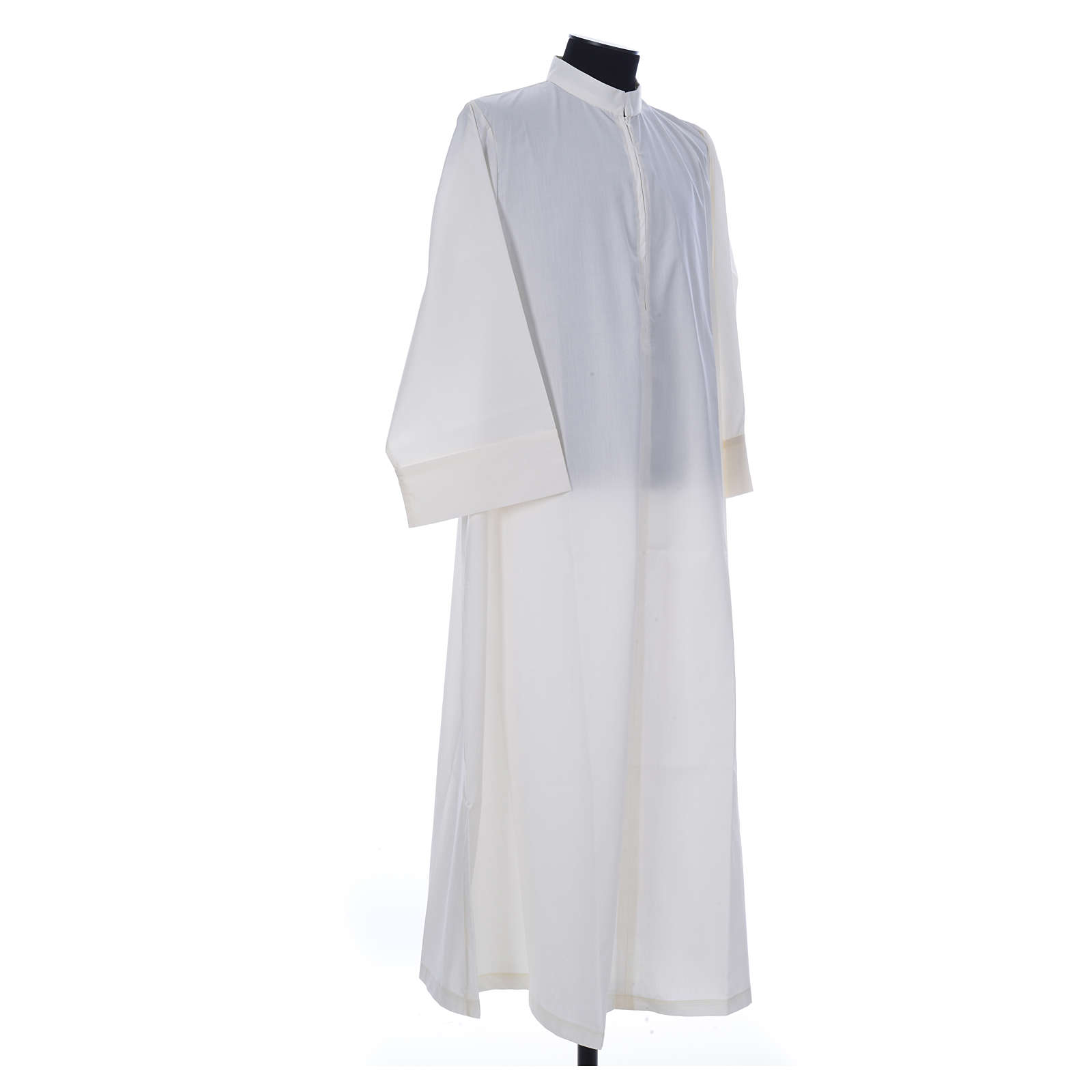 Simple Priest Alb in cotton and polyester, with zipper on front, ivory 4