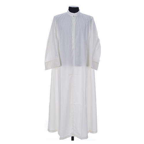 Simple Priest Alb in cotton and polyester, with zipper on front, ivory 1