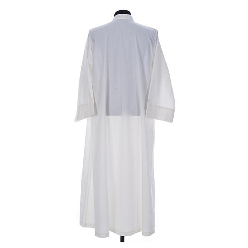 Simple Priest Alb in cotton and polyester, with zipper on front, ivory 2