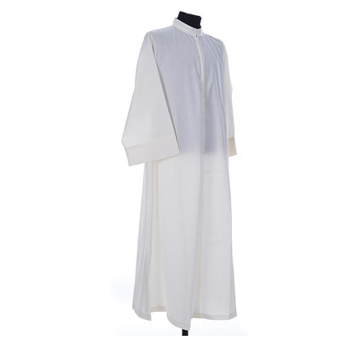 Simple Priest Alb in cotton and polyester, with zipper on front, ivory 3