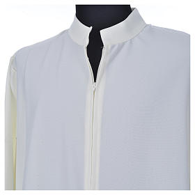 Ivory alb in 100% polyester, simple with zipper on front s4