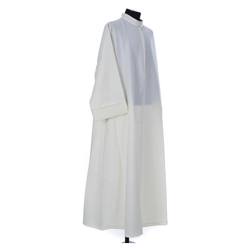 Ivory alb in 100% polyester, simple with zipper on front 3
