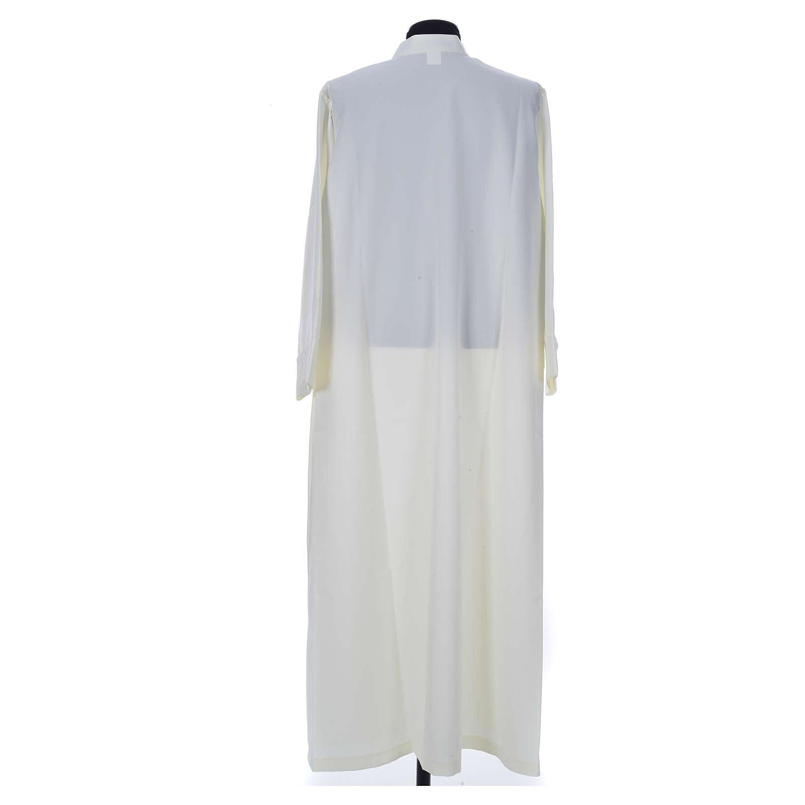 Aube liturgique ivoire simple 100% polyester fermeture devant 4